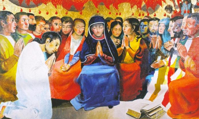 Pentecoste di Arcabas, olio su tela