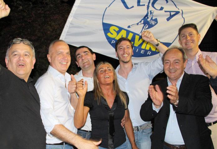 l'esultanza della Lega dopo il ballottaggio a Fossano (2019)