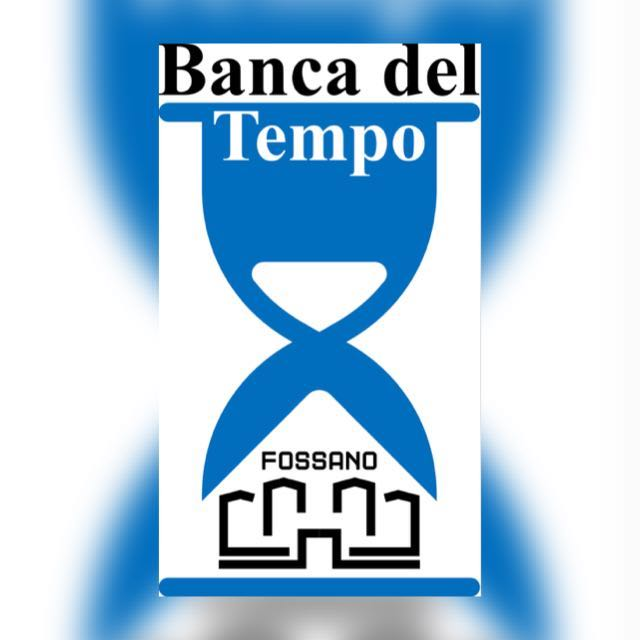 logo della Banca del tempo di Fossano: clessidra con il profilo del castello, simbolo della città