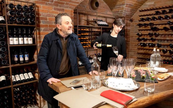 Enrico Castellano e Laura Fruttero nelle cantine di Palazzo Righini