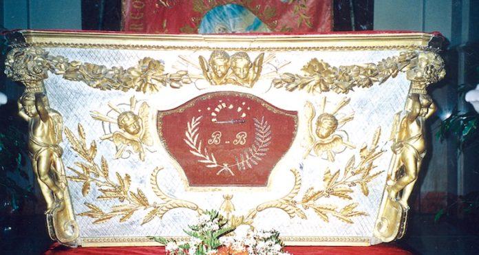 Chiesa parrocchiale di Cervere: urna delle reliquie del beato Bartolomeo