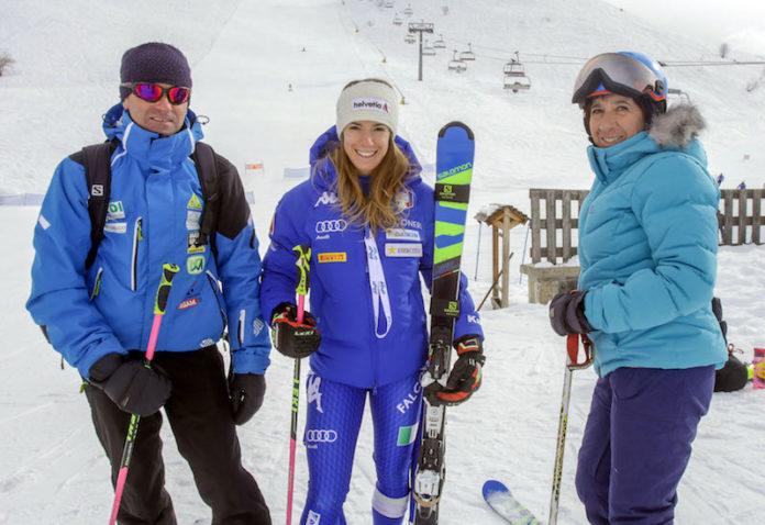 Marta Bassino con i genitori a Prato nevoso