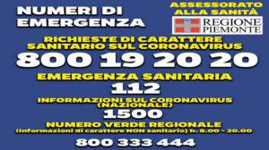 Coronavirus Numero Verde Regione Piemonte