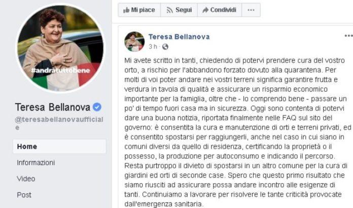 La pagina Facebook della minsitra Bellanova che annuncia novità per gli orti al tempo del coroanvirus