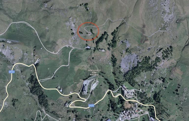 San Magno mappa con il luogo dell'incidente