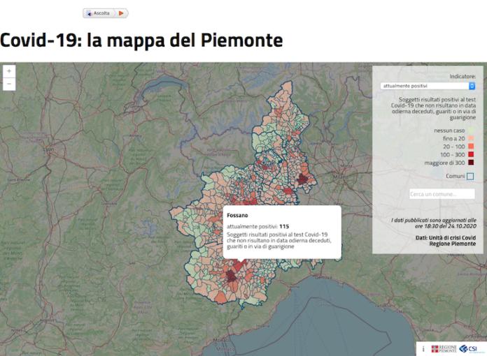 Mappa Covid Piemonte