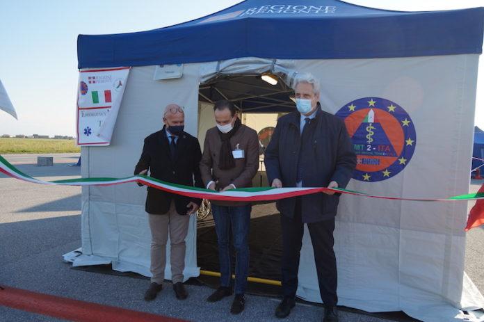 Aeroporto di Levaldigi, ottobre 2020: l'inaugurazione dell'ospedale da campo della Maxiemergenza