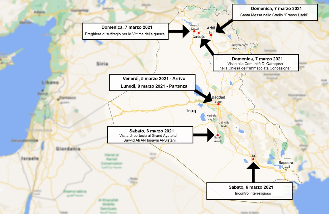 Iraq Cartina Viaggio Papa Francesco