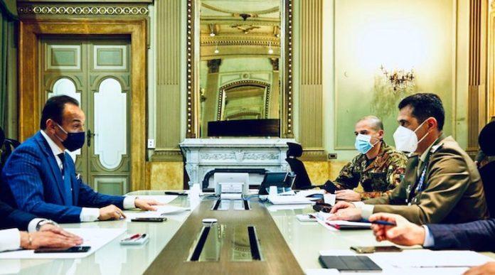 Incontro presidente Cirio e generale Figliuolo