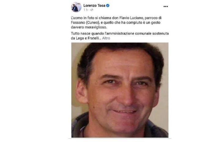 Il giornalista Lorenzo Tosa ha dedicato un post a una vicenda accaduta a Fossano
